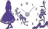 GRAZDesign 800309_SI_043 Wandtattoo Uhr mit Uhrwerk Wanduhr Kinderzimmer Mädchen Prinzessin (94x57cm//043 lavendel//Uhrwerk silber)