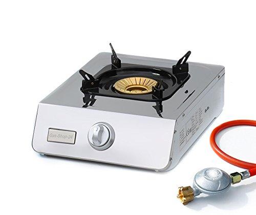 Outdoor-gas-wok (Wokbrenner / Gaskocher 5 KW Edelstahl f. Propangas (Hockerkocher, Asia Kocher, Gastrokocher, Gasherd, Campingkocher, Outdoorkocher Angler Camping Reservekocher Not-Kocher 30 50 mbar))