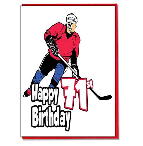 Eishockey Geburtstagskarte zum 71. Geburtstag, für Herren, Sohn, Enkel, Vater, Bruder, Ehemann, Freund, Freund