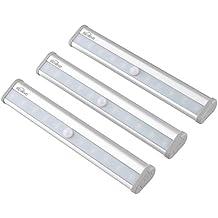 Kealive Lámpara de Pared PIR con Sensor de Movimiento 10 LEDs Operada por Batería con Cinta Magnética para Armario, Escalera, etc (3 Paquetes, LT-KW1)