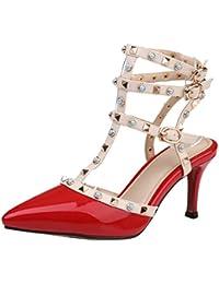 14c482751e51f JYshoes Riemchen Sandalen mit Nieten Spitze High Heels Lack Pumps Slingback  Modern Party Schuhe Damen - cs-demo1.com