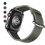 TEZER 5 Farben Für Apple Watch Armband 38/42mm, Wax Series iWatch Leder Band/Armbänder für Apple Watch Series 3, Series 2, Series 1,42mm Uhrenarmband (42mm, Grün)