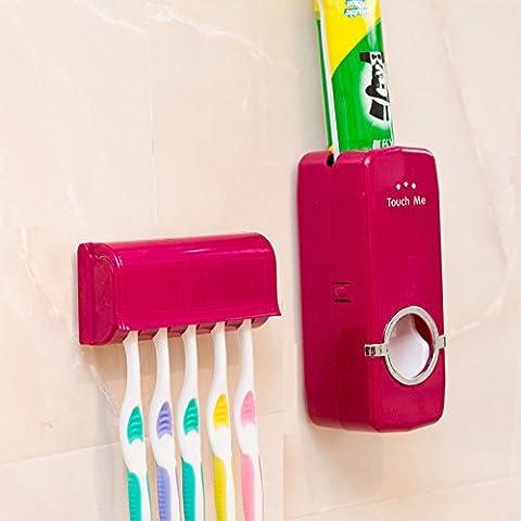 MFEIR® Porte brosses à dents et Distributeur automatique de dentifrice,Rouge