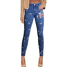978d089ad19f6 Geurzc Jeans Femme avec Broderie Fleur Brodé Taille Haute Straight Denim  Stretch Skinny Slim Leggings Collant
