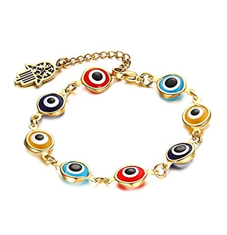 Vnox Women's Stainless Steel Multi-Colored Murano Glass Beads Evil Eye Adjustable Link Bracelet with Hamsa Hand Charm Gold