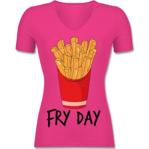 Statement Shirts - Fry Day - Pommes Frites - Tailliertes T-Shirt mit V-Ausschnitt für Frauen Fuchsia