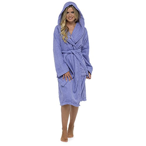 - 41gakUDSQEL - Ladies Robe Luxury Terry Towelling 100% Cotton Dressing Gown Bathrobe Perfect Christmas Gift