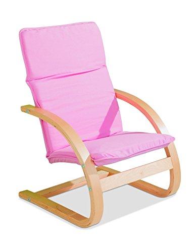 Kindersessel Kinderstuhl Freischwinger BONNY 3 | Pink | Holz | Baumwolle | Sitzhöhe 28 cm