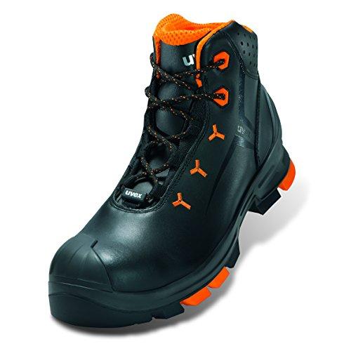 """Uvex Sicherheits-Stiefel """"uvex 2"""" S3 metallfrei; Outdoor-Sohle; besonders leicht; Gr. 35 Schwarz/Orange"""