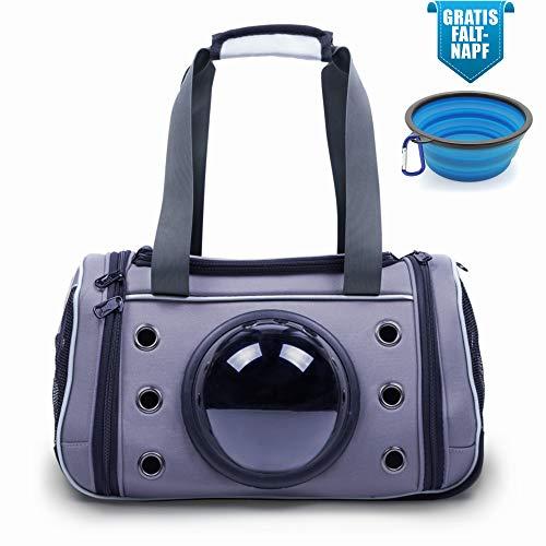 Lucky Lamb Cloudscout - Faltbare Tragetasche für Hund & Katze bis 15kg. Die Transporttasche mit dem Bullauge | Auto Flugzeug Zug aus reißfestem Netzgewebe + Gratis Faltnapf! (S, Anthrazit)