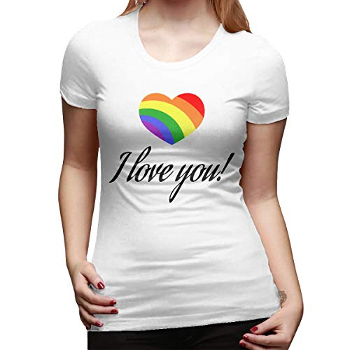 737e8fc73 pants hats Gay Pride Rainbow Love 2 Women's Summer Short Sleeve Tops Round  Neck Casual Loose