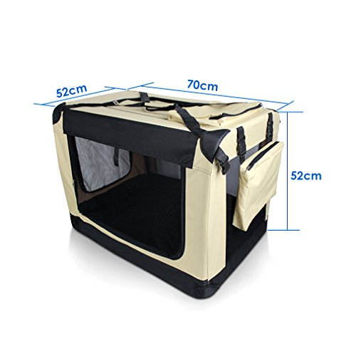 Hundebox Auto Hundetransportbox (XXL, 91.4 * 63.5 * 63.5 Khaki) -
