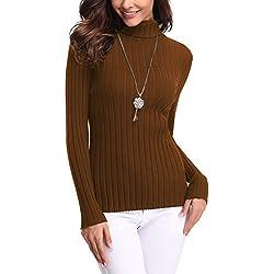 Abollria Suéter para Mujer, Jerséy para Otoño Invierno (L, Marrón/Cuello Alto)