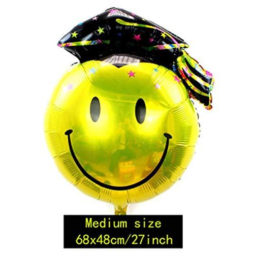 dryujdytru Langlebig in Use Abschluss Mylar Helium Ballon Party Folien Ballon Dekoration Schwarz Blau Blau - Medium Dr.Schwarz Hut Smiley