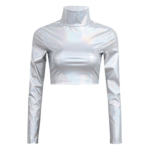 Mock Rock (YiZYiF Metallic Flüssigkeit Mock Neck Pullover mit Stehkragen Langarm Crop Top Damen T-Shirt Clubwear Sexy Gr. S-XL Silber Medium)