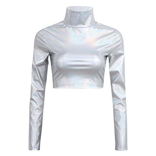 YiZYiF Metallic Flüssigkeit Mock Neck Pullover mit Stehkragen Langarm Crop Top Damen T-Shirt Clubwear Sexy Gr. S-XL Silber Medium