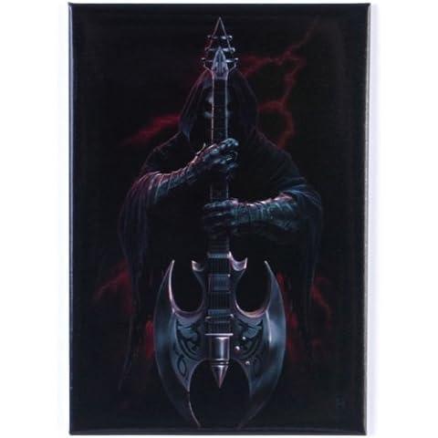 Anne Stokes-God Rock-Magnete per frigorifero, stile gotico, con scheletro Death-Mietitrice battaglia di chitarra