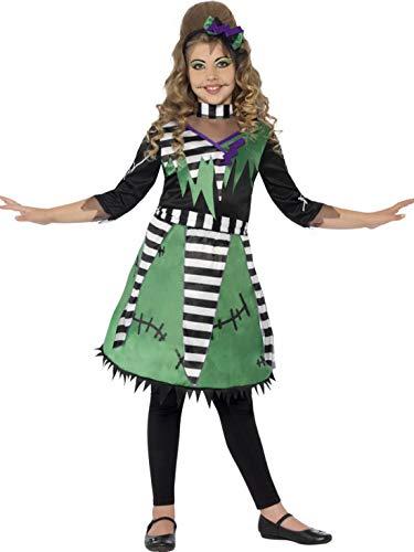 Halloweenia - Mädchen Kinder Kostüm Hochwertiges Doktor Frankenstein Kleid mit Kopfschmuck, Little Lady Frankenstein, perfekt für Halloween Karneval und Fasching, 104-116, Schwarz