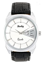 Trendy Black Leather Belt Watch, Round White Dial Analog Watch For Men's/Boys CasualFormal Wear Watch By Rorlig