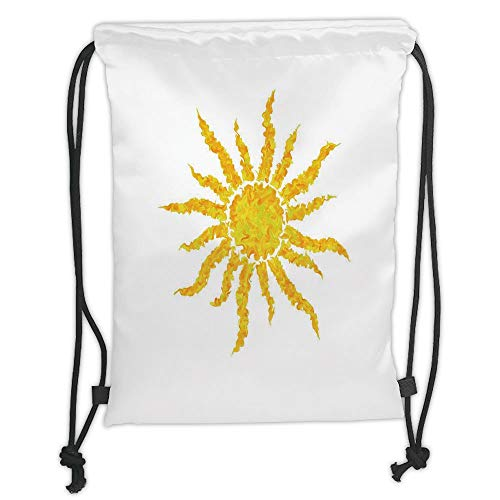 Drawstring Backpacks Bags,Sun,Artsy Grunge Star Drawing Circle and Stripes Abstract Center of Solar System Decorative,Marigold Pale Green Soft Satin,5 Liter Capacity,Adjustable STR - Green Roof Center