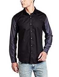 V Dot by Van Heusen Mens Casual Shirt (8907485210745_VDSF516E05278_40_Black Solid)