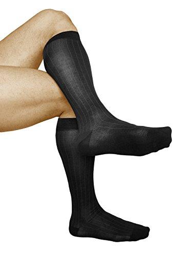 Vitsocks calzini al ginocchio uomo (2 paia) cotone mercerizzato calze lunghe a righe durature, 42-43, neri