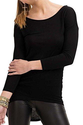 trueprodigy Casual Damen Marken Long Sleeve Kleid Einfarbig Basic, Oberteil Cool und Stylisch mit Rundhals (Langarm & Slim Fit), Langes Langarmshirt für Frauen in, Größe:M, Farben:Schwarz
