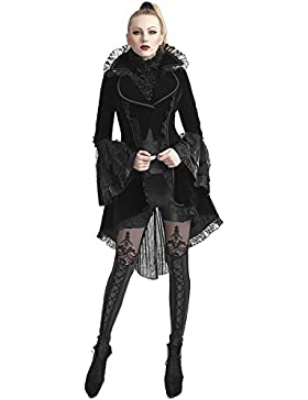 Punk Rave chaqueta FRAC para mujer terciopelo Negro gótico VTG Victorian Levita