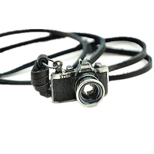 Original Tribe Black Leather Real e della lega del pendente della macchina fotografica della collana regolabile mens collana unisex Collana fredda Collana Pl1356