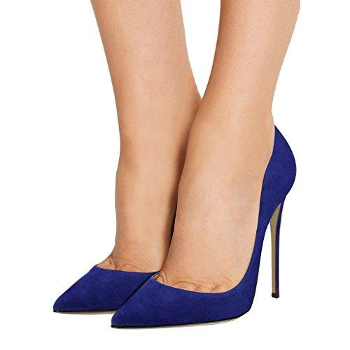Guoar High Heels Damenchuhe Große Größe Pumps Einfach Stil Spitze Zehen Hand gemacht Stiletto Büro-Dame Party Hochzeit Blau Samt