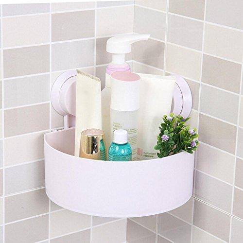 Sansee mensola angolare per la doccia e la cucina, con ventosa, in plastica, per contenere e organizzare prodotti cosmetici white