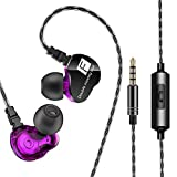 ULTRICS in Ear Kopfhörer, Ohrhörer mit Mikrofon, High Bass Sport Earphones für Apple iPhone, Samsung, Sony, PS4 Andere Android Handys und Tablets in Running, Sport etc - Lila
