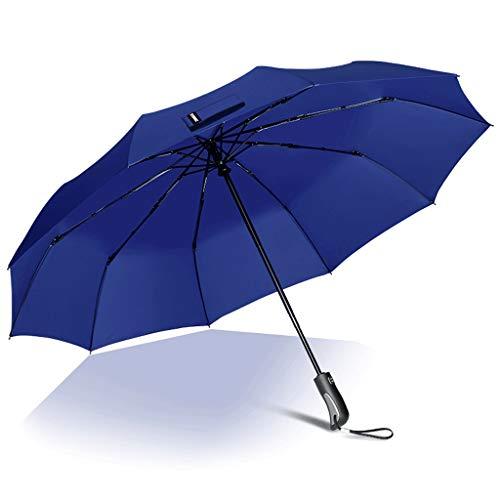 Regenschirm 450g Automatik Herren und Damen Regenschirm mit doppeltem Verwendungszweck Winddicht (Color : Blue)