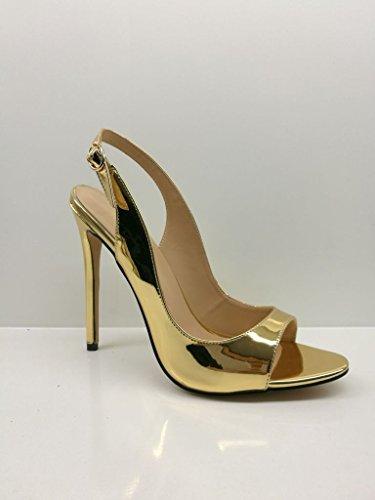 EDEFS Damen Peep Toe Stiletto Heels Slingback Sandalen High Heel Damenschuhe mit Schnalle Größe Gold