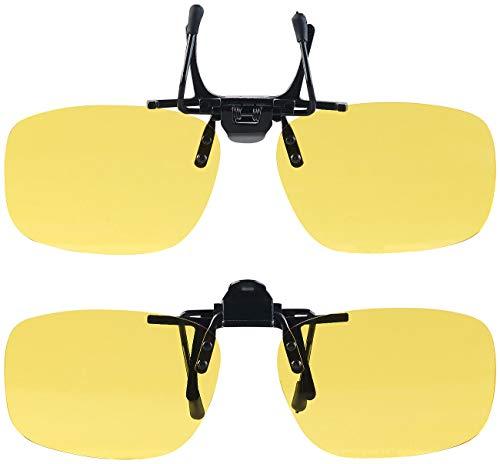 PEARL Nachtsicht Brillenclip: 2er-Set Nachtsicht-Brillenclips, abgerundet, polarisiert, UV400 (Überzieh-Nachtsichtbrille)