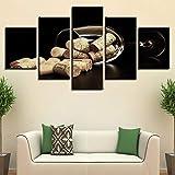 SYJL Le Salon modulaire de Mur d'art de Tableaux Travaille Le imprimé imprimé 5 Panneaux Tasses de vin et Bouchons de liège décoration de Maison Peinture Toile Moderne, 40x60 40x80 40x100cm-Cadre