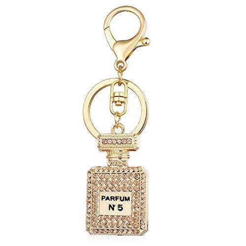 Ou lida Mode Strass Auto Anhänger Schlüsselanhänger Parfüm Flasche Schlüsselanhänger Handtaschen Anhänger Schmuck, Champagner -