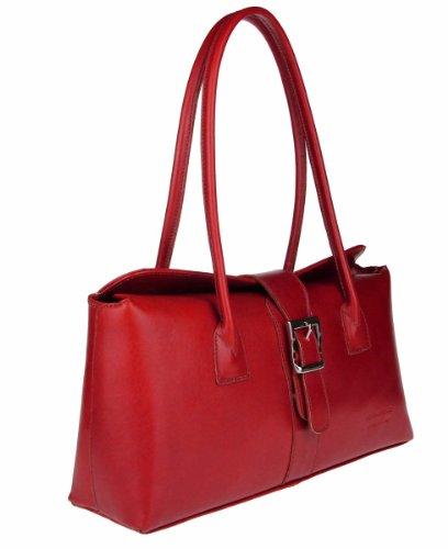 fc617daed517e Made in Italy Damen Vera Pelle Leder Tasche Umhängetasche Schultertasche  Theatertasche Abendtasche Clutch 36x18x10 cm ...