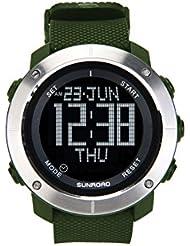 2017Sunroad nueva llegada de los hombres del deporte del reloj Digital horas para Running Natación Resistente al agua 50m cronómetro temporizador fr1001b, color verde