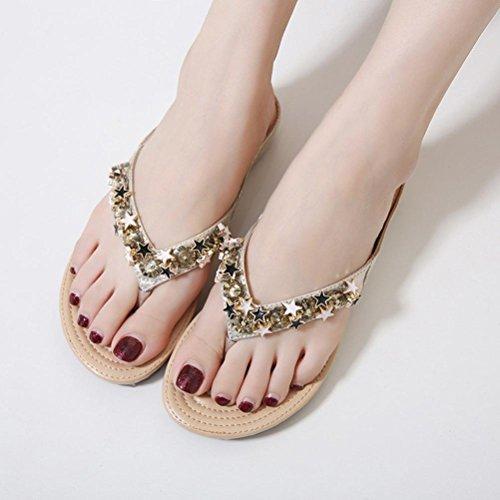 Böhmische Perlen weiche Pantoffeln, Kaiki Frauen Boho Flip Flops Sandalen Casual Wedge Clip Toe Beach Schuhe Gold