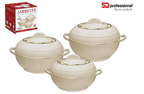 SQ Pro Ambiente Food Warmer Hot Pot Set of Insulated Casseroles, 1.2, 1.6, and 2.5 Litre, White (Cream)