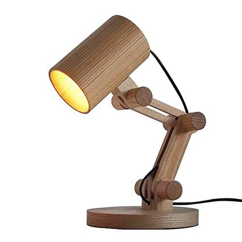 KYBYMX,Nordic Schreibtischlampe Kreative Holz Schreibtischlampen Faltbare Eiche Einfache LED Schreibtischlampen Innentischlampe (Farbe : B, größe : Schalter) -