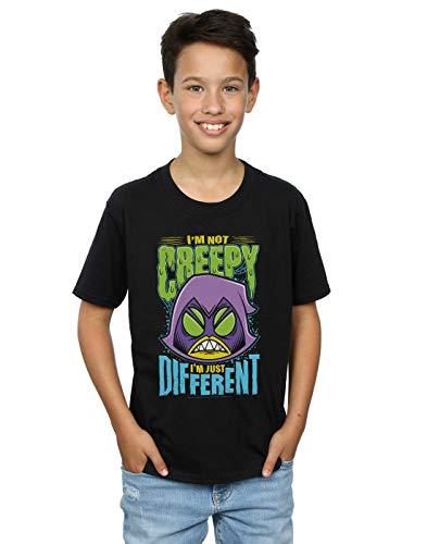 DC Comics Jungen Teen Titans Go Creepy Raven T-Shirt Schwarz 7-8 Years
