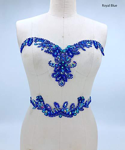 Strassapplikation mit Kristallbesatz, 3D-Spitze, ideal für DIY Ausschnitt, Miedergürtel, Hochzeit, Abschlussball, Kleid, A3 königsblau