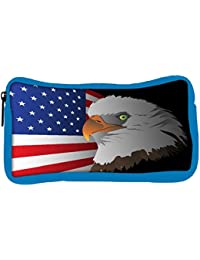Snoogg Eco Friendly Canvas Flag Background With Eagle Student Pen Pencil Case Coin Purse Pouch Cosmetic Makeup...