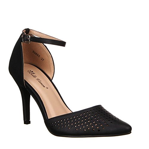 Damen Riemchen Abend Sandaletten High Heels Pumps Slingbacks Lack Peep Toes Party Schuhe Bequem 182 Schwarz 50865