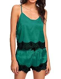 Unterwäsche & Schlafanzug Frauen Sommer Faux Silk Sexy Pyjamas Set Vintage Polka Dot Gedruckt Tiefem V-ausschnitt Leibchen Tank Top Lose Blumen Spitze Patchwork Shor