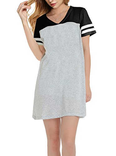 SWISSWELL Damen Schlafhemd Kurzarm V-Ausschnitt Nachthemd Rock Kleid Nachtwäsche Nachtkleid Sleepwear Schlaf T Shirt