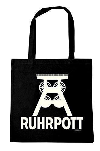 Ruhrpott - Wahrzeichen Baumwolltasche - Stofftasche mit Druck und langen Tragegriffen - schwarz - LOGOSHIRT
