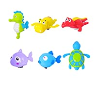 Dsaren Baby Bath Toys Wind Up Sea Animal Bath Toy Bathtub Swimming Tub for Toddlers Kids Water Fun (6 pack)